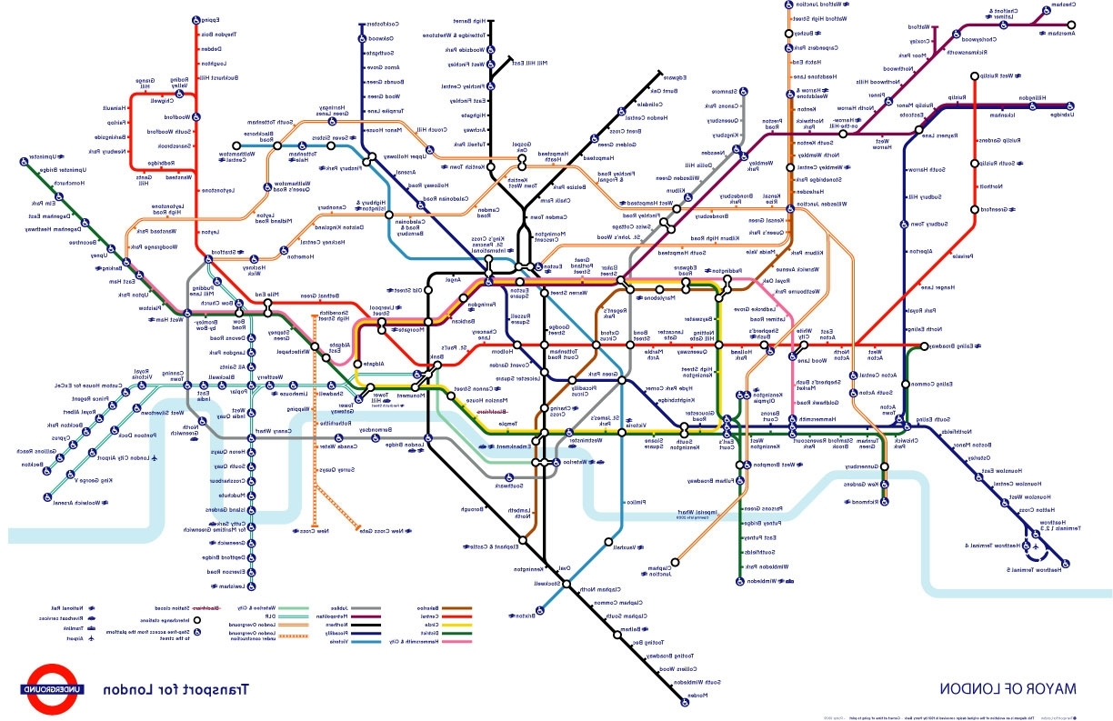 Tube Map Wall Art Pertaining To Most Up To Date Tube Map (View 17 of 20)