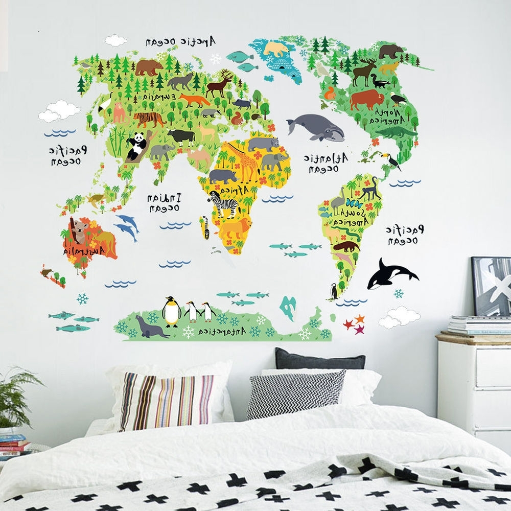 Tube Map Wall Art With Regard To Most Current Colorful World Tube Animal Zone Map Wall Sticker Decal Vinyl Mural (View 19 of 20)