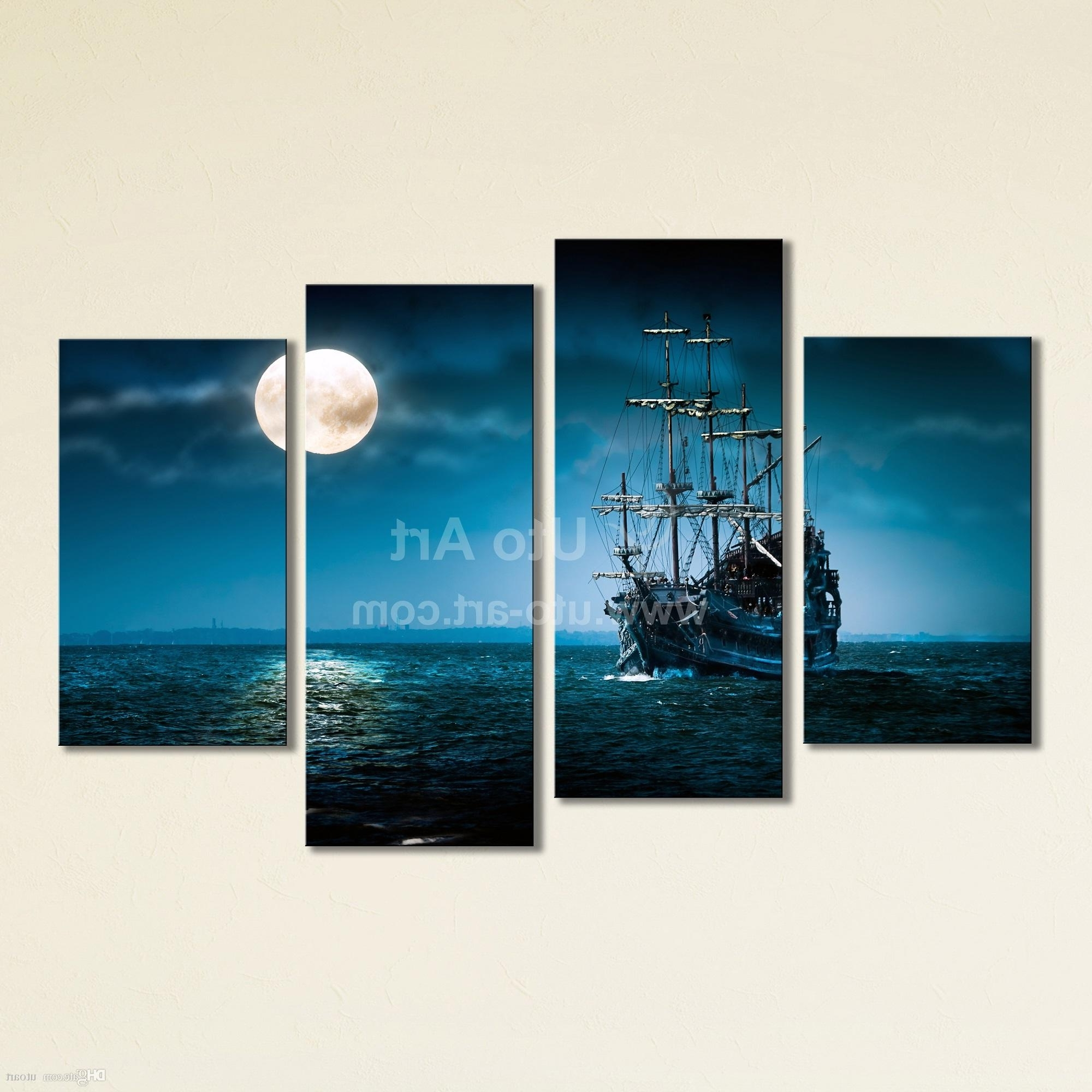 Turquoise Wall Art In Most Recently Released 2018 Large 4 Panel Wall Art Painting Sailing Ship Canvas Wall (View 17 of 20)