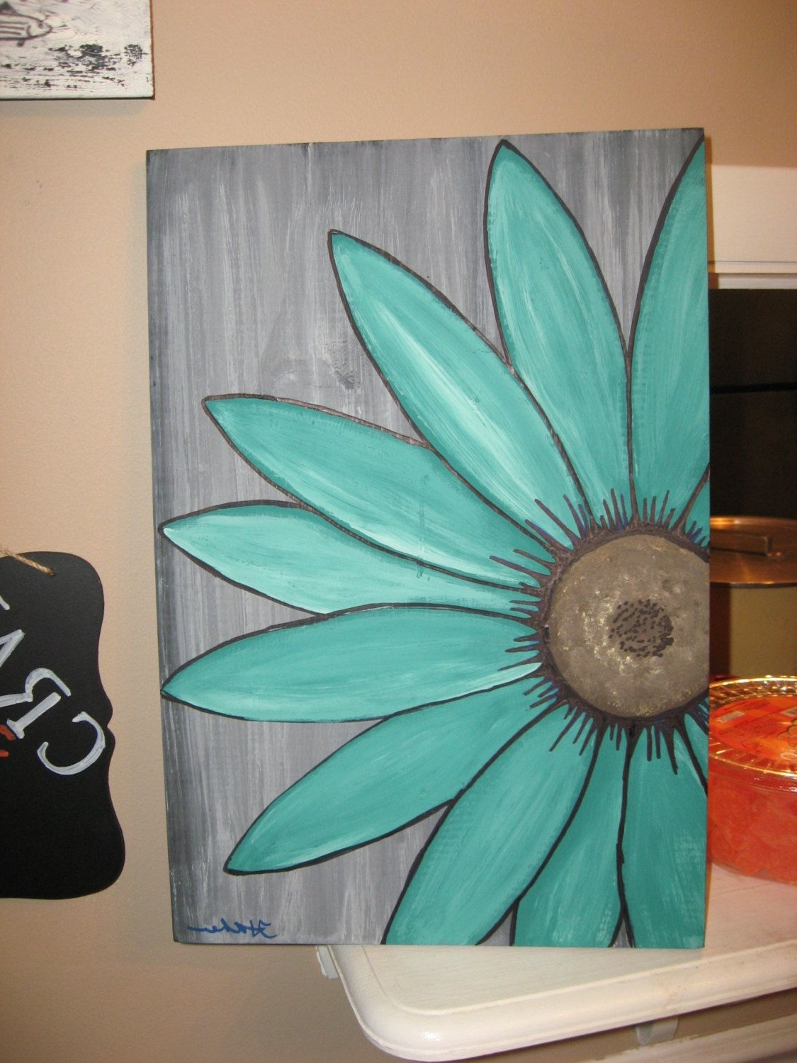 Turquoise Wall Art In Widely Used Turquoise Flower Daisy Painting Rustic Flower Wood Flower Wall Art (View 18 of 20)