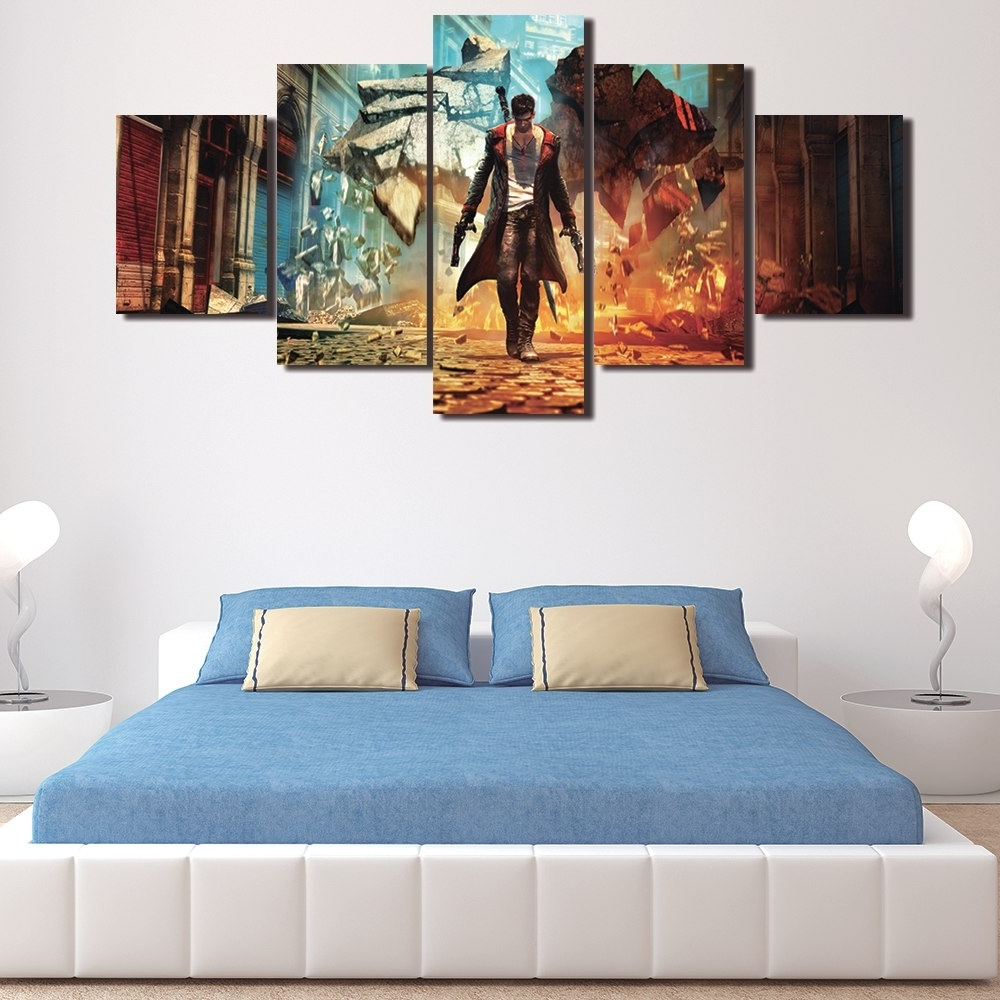 Unframed 5 Pieces Modern Wall Art Picture Hd Painting On Canvas Inside Well Known Wall Art For Men (Gallery 3 of 15)