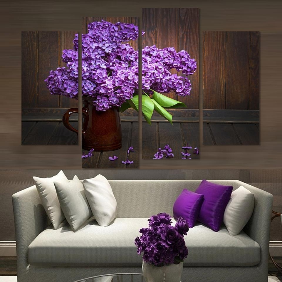 Unframed)4 Pieces Modern Home Decor Wall Art Picture For Living Room Intended For Trendy Purple And Grey Wall Art (View 16 of 20)