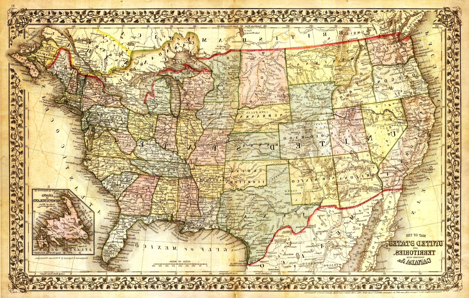 United States Map Vintage Map Canvas Large Map Wall Art Map Map (View 19 of 20)