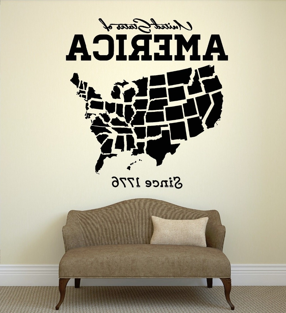 Usa Map Wall Art For Preferred Usa Map Wall Sticker United States Of America Map Mural Pvc Wall Art (Gallery 3 of 20)