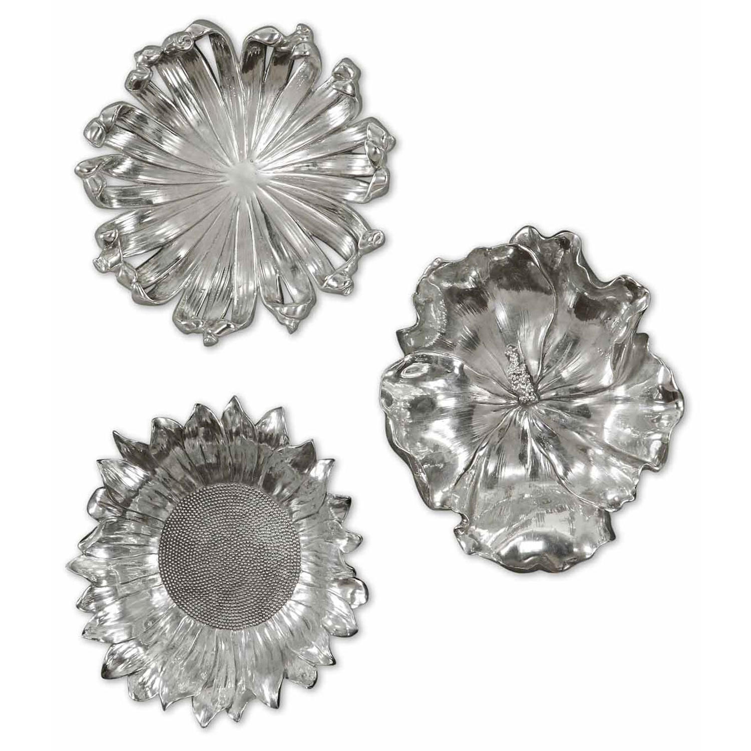 Uttermost Silver Flowers Metal Wall Art, Set Of Three 08503 (Gallery 12 of 20)