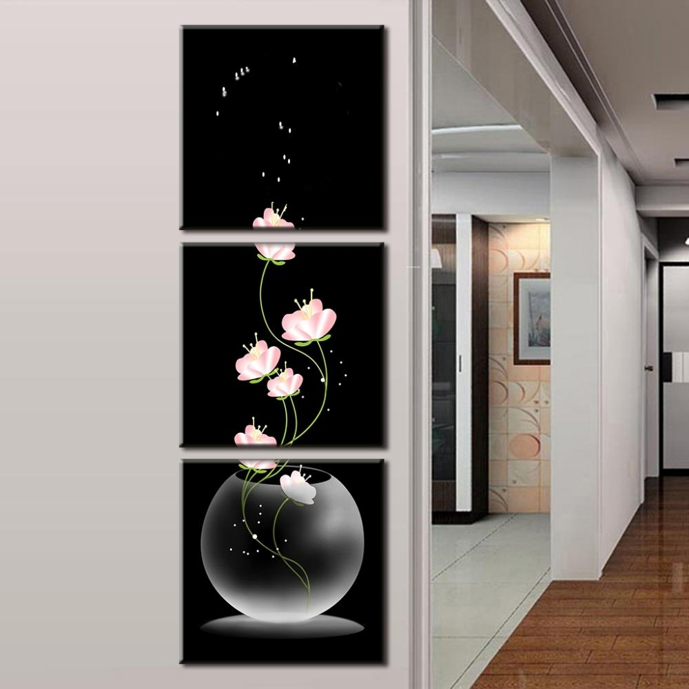 Vertical Wall Art Intended For Widely Used 3 Pcs/set Abstract Art Modern Wall Paintings Flowers Porch Vertical (View 7 of 20)