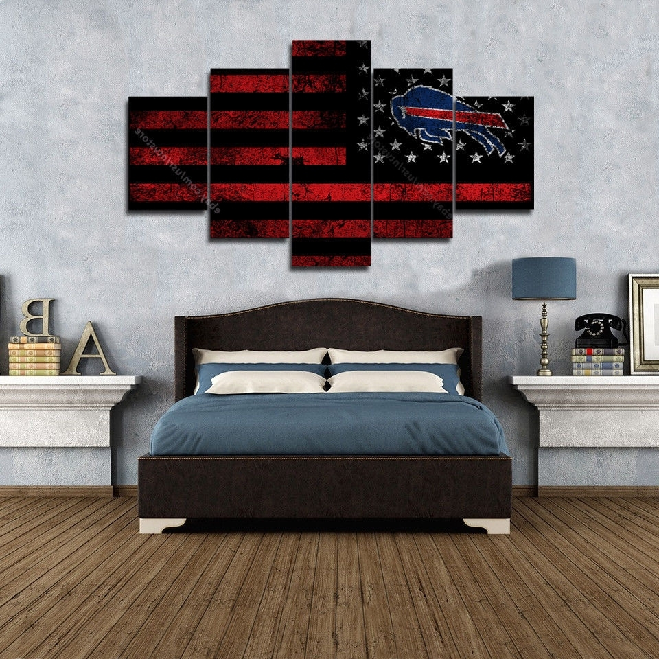 Vintage American Flag Wall Art In 2018 Buffalo Bills Wall Art Vintage American Flag Canvas 5 Piece Football (View 12 of 20)