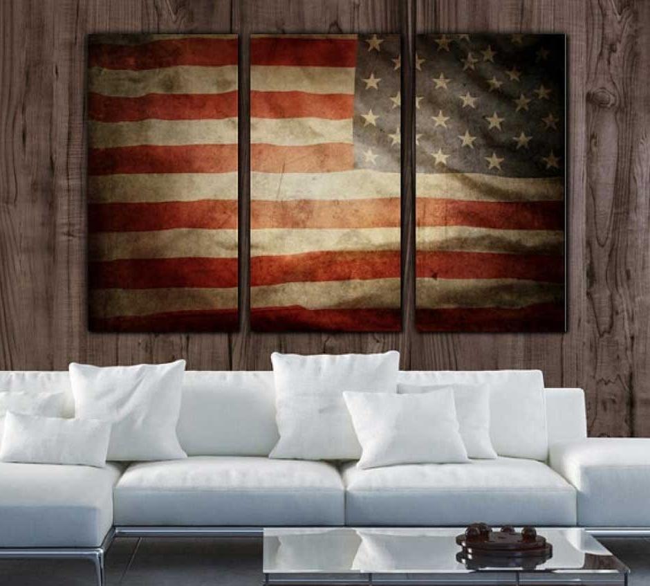 Vintage American Flag Wall Art Regarding Best And Newest New Vintage American Flag Wall Decor (View 14 of 20)
