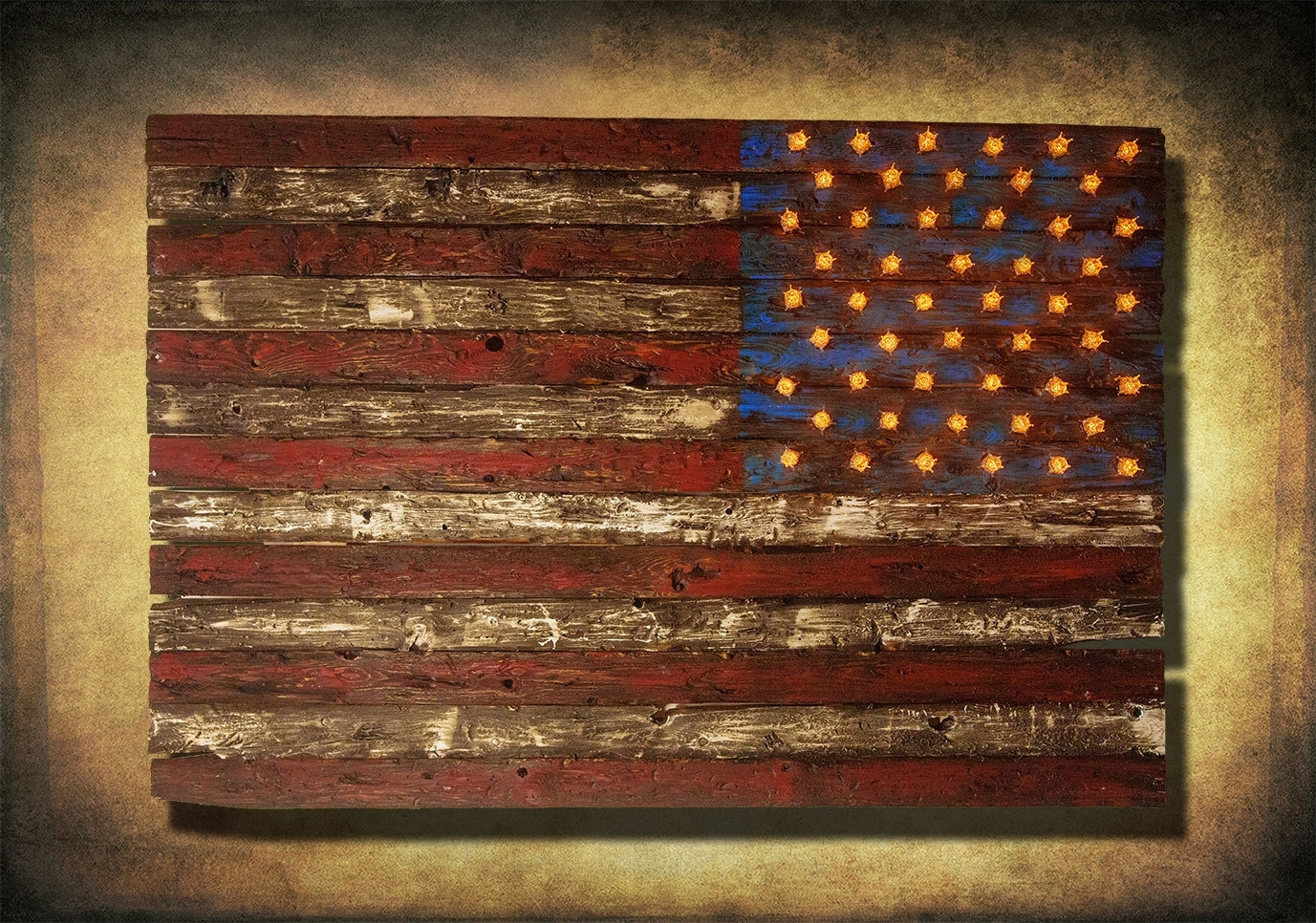 Vintage American Flag Wall Art Regarding Most Popular American Flag, Weathered Wood, Edison Bulb, 3D, Wooden, Vintage, Art (Gallery 1 of 20)