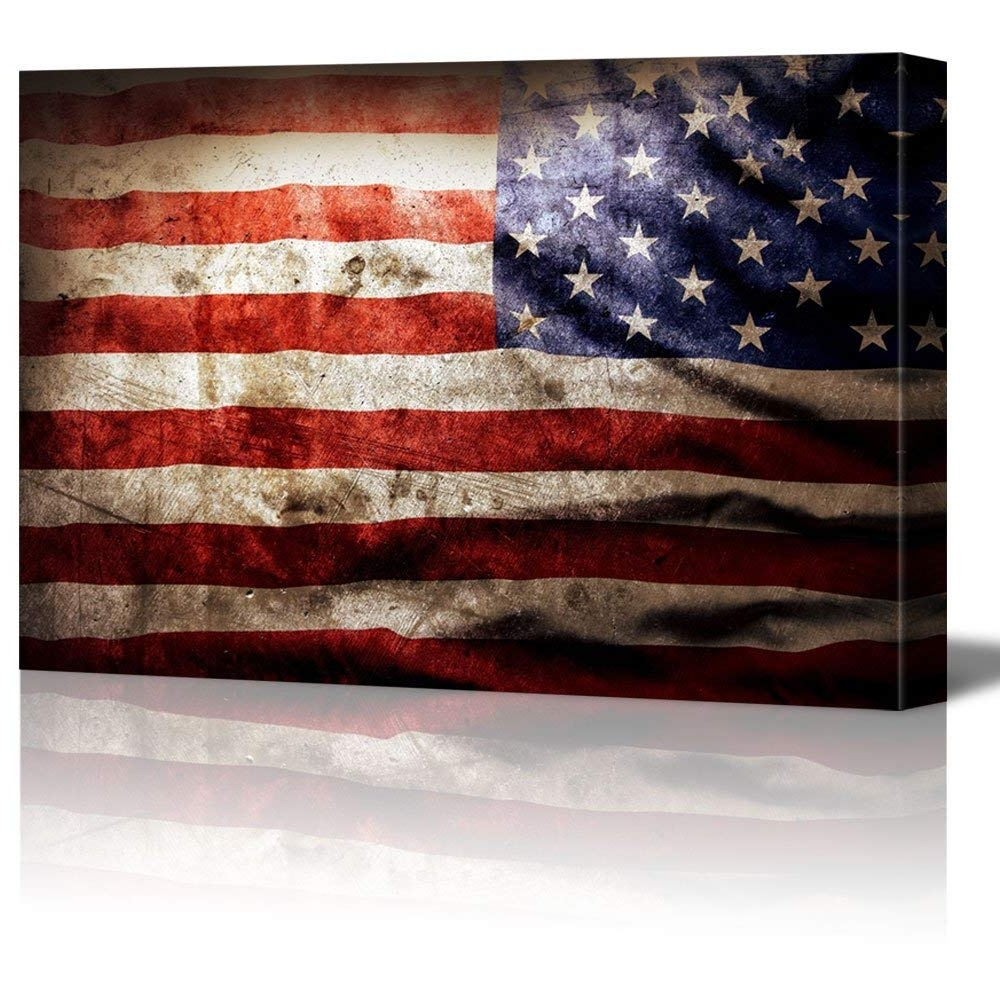Vintage American Flag Wall Art With Regard To Latest Closeup Of Grunge American Flag Vintage Retro Style Patriotic (Gallery 10 of 20)