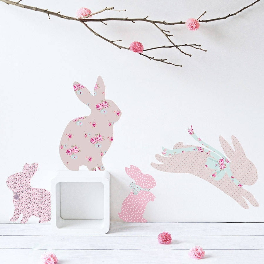 Vintage Floral Rabbit Wall Stickerskoko Kids Intended For Newest Bunny Wall Art (View 5 of 20)