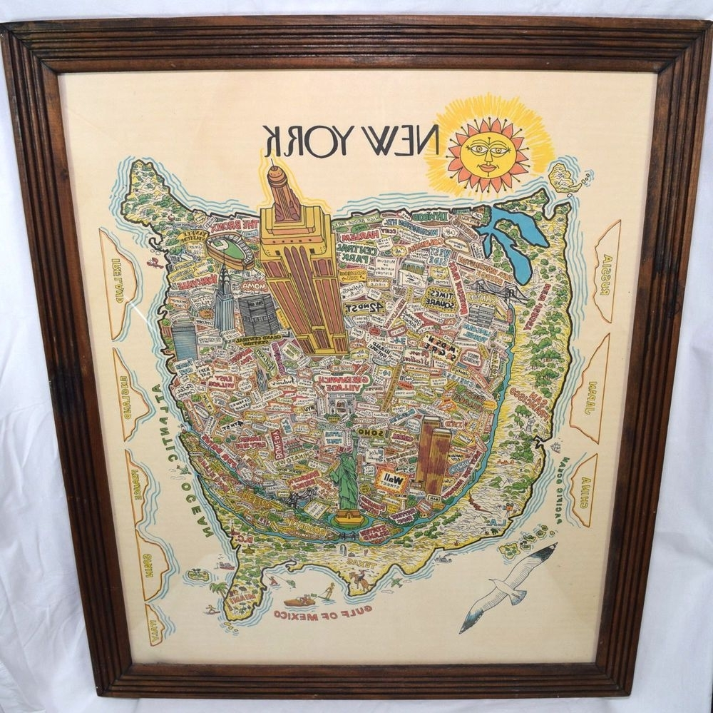 Vintage New York City Map Wall Art Illustrated Typography Bright Wtc Pertaining To Well Known New York City Map Wall Art (View 19 of 20)