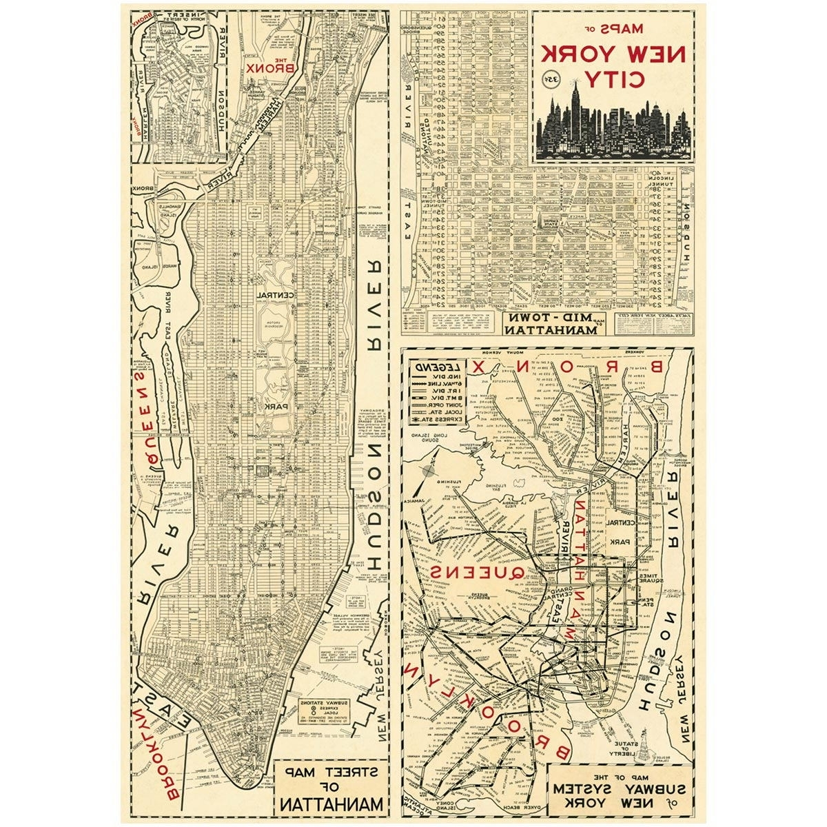 Vintage Style Paper Regarding New York Subway Map Wall Art (View 17 of 20)