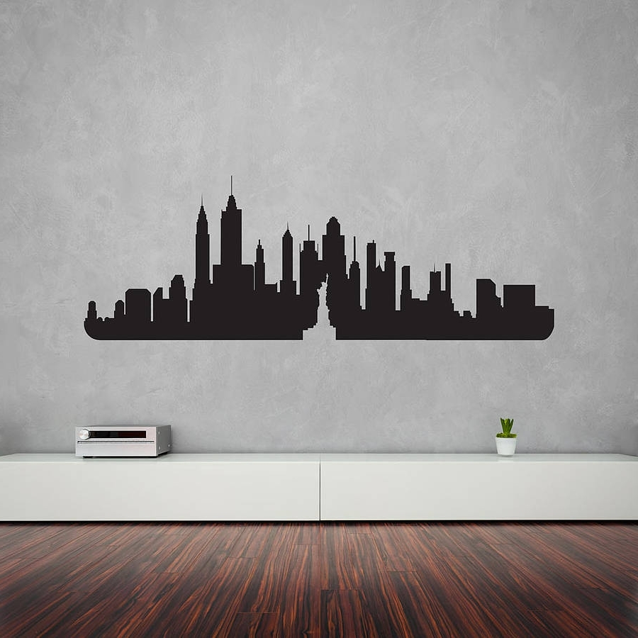 Vinyl Wall Art Inside Latest New York City Skyline Wall Art Decalvinyl Revolution (View 12 of 15)
