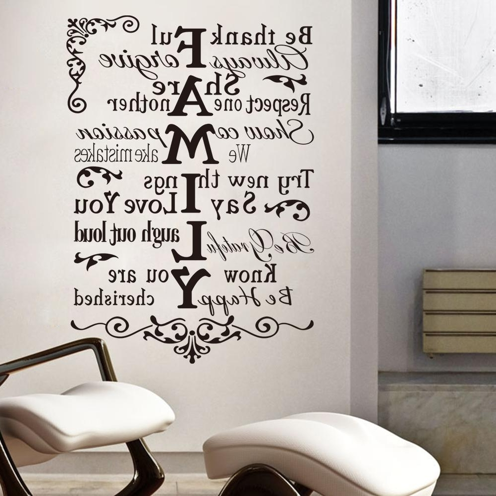 Vinyl Wall Art Stickers Large Family Rules Wall Decals For Living Regarding Widely Used Family Rules Wall Art (View 18 of 20)