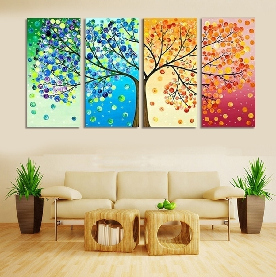 Wall Art Canvas Intended For Most Recently Released Picture Wall Art Canvas Painting Tree Decoration For Living Room (View 3 of 15)