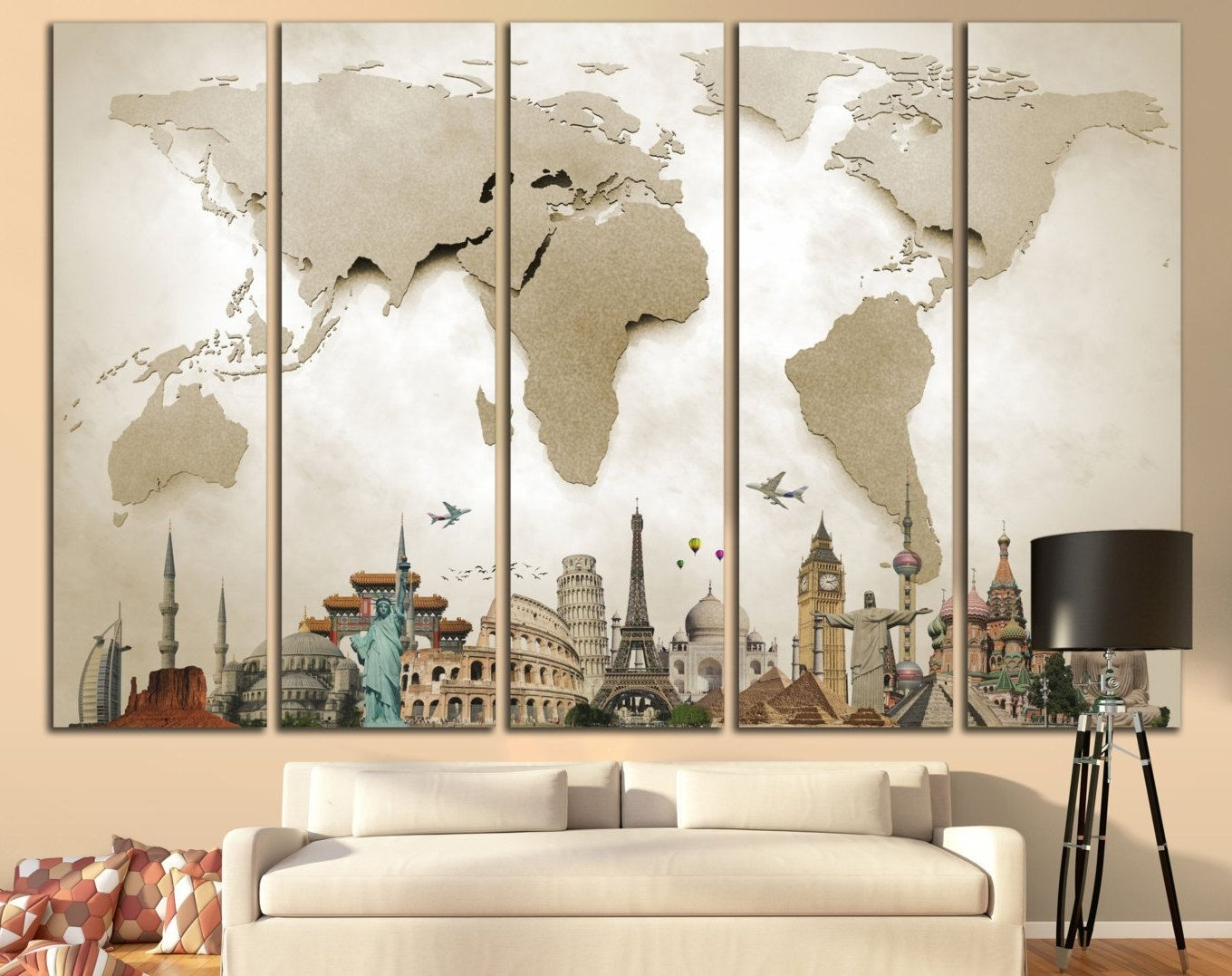 Wall Art Map Of World With Regard To Most Recently Released Unique Extra Large Wall Art Related Items (View 15 of 20)