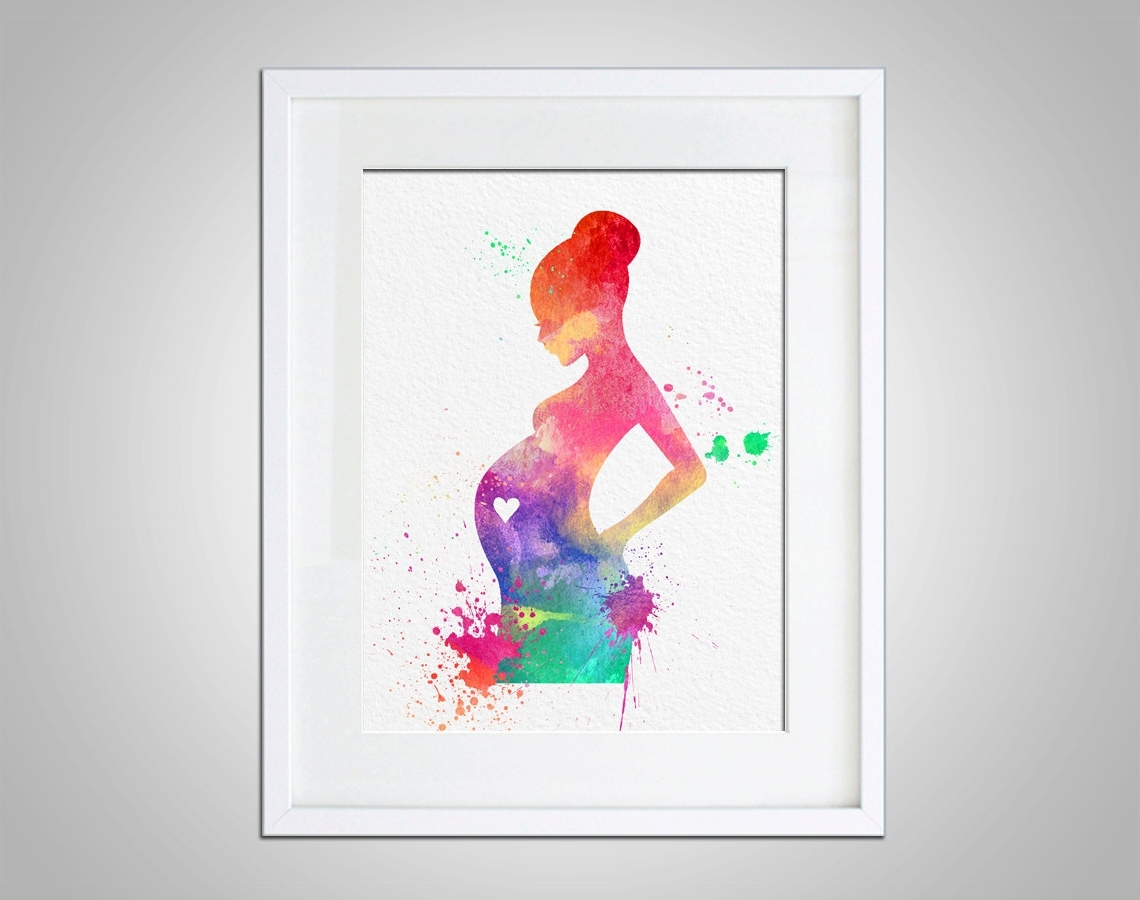Wall Art Prints Pertaining To Well Known Watercolor Art Expectant Mother Baby Shower Gift Modern 8X10 Wall (View 17 of 20)