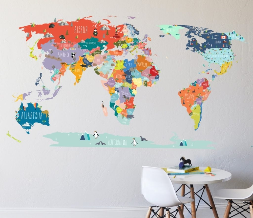 Wall Art Stickers World Map For 2017 World Map Art New Wall Decal Sticker With Destination Markers (View 16 of 20)