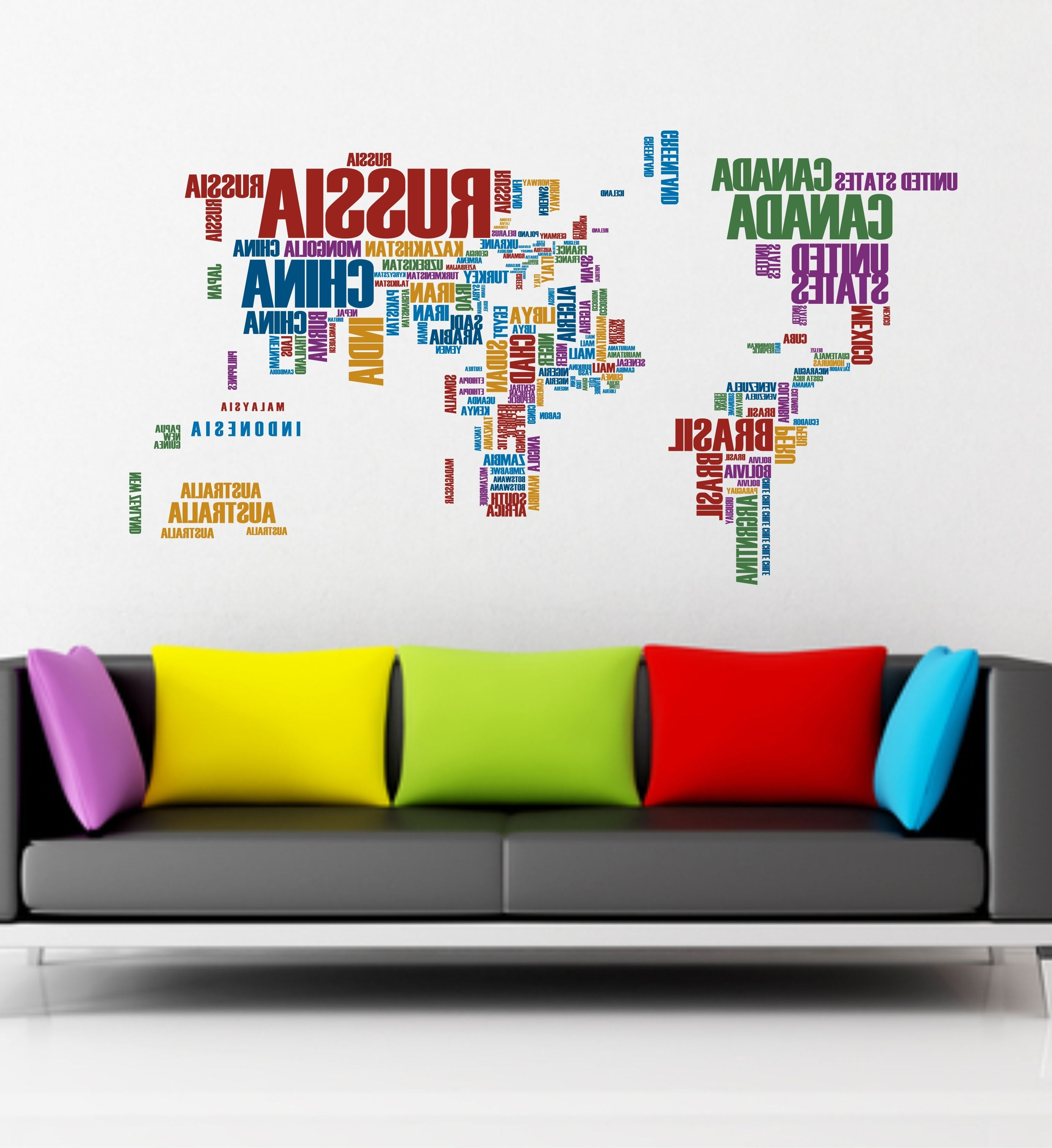Wall Art Stickers World Map In Fashionable The Grafix Studio (View 8 of 20)