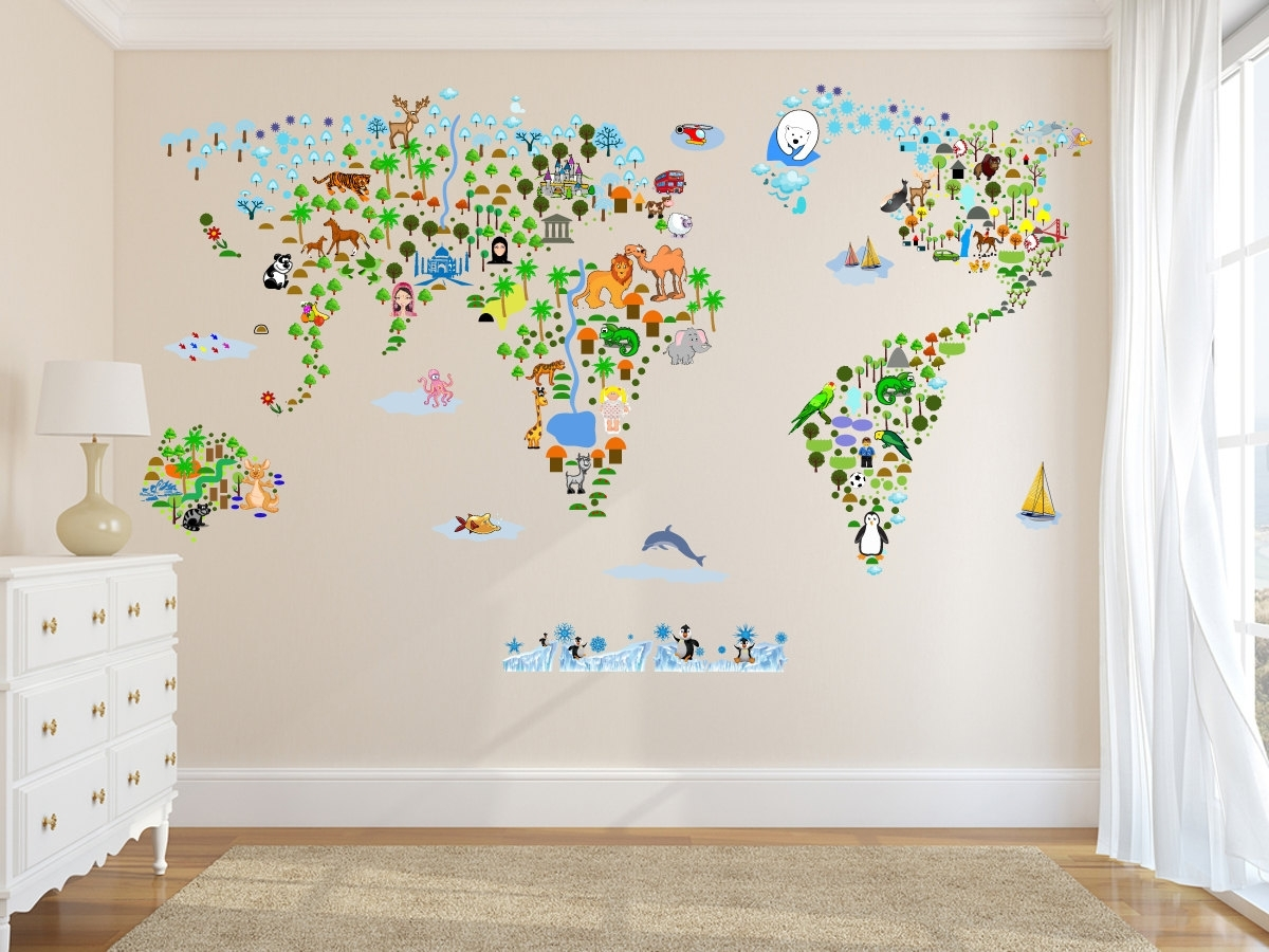Wall Art Stickers World Map Pertaining To Well Liked Cultural World Map Wall Decal Reusable Vinyl Fabric (View 17 of 20)
