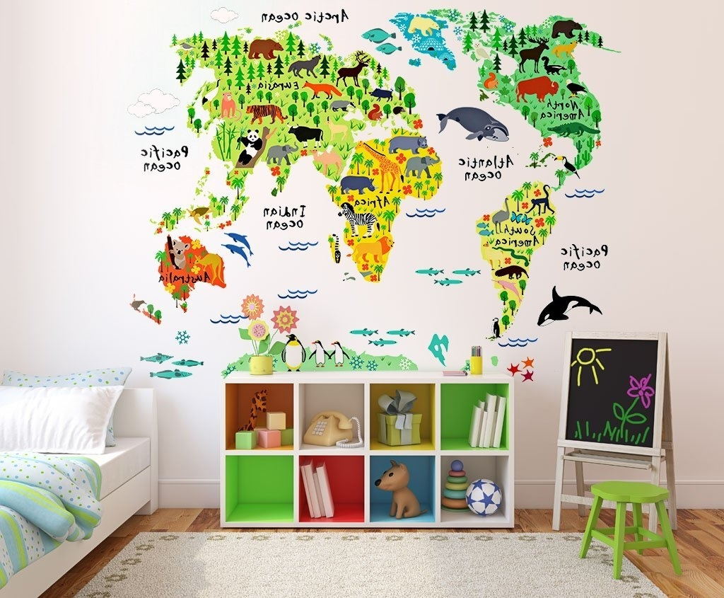 Wall Art Stickers World Map Throughout Recent Buy Kids Educational Animal World Map Wall Stickers Eveshine Peel (Gallery 15 of 20)