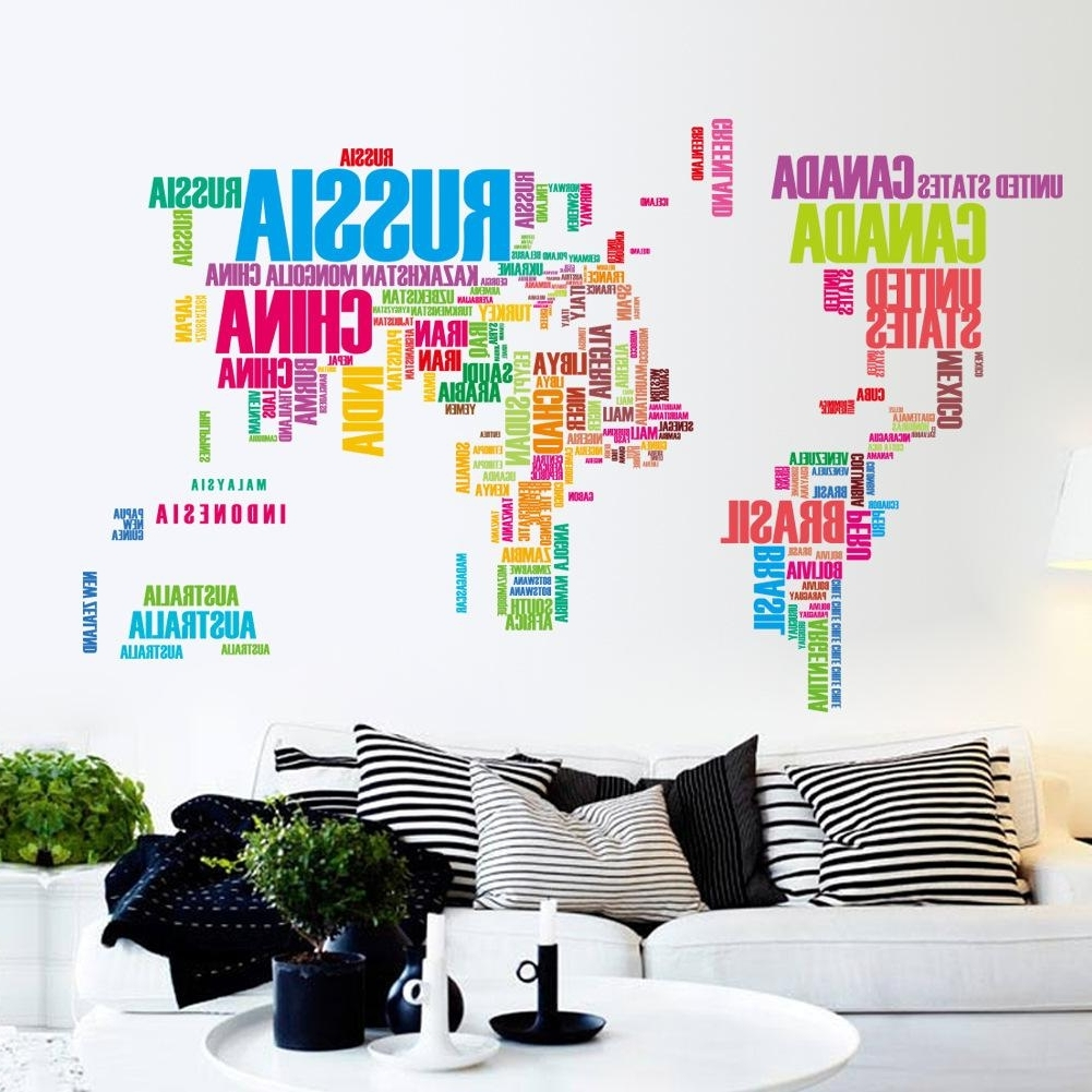 Wall Art Stickers World Map With Recent Large Colorful World Map Removable Vinyl Wall Decal Art Mural Home (View 14 of 20)