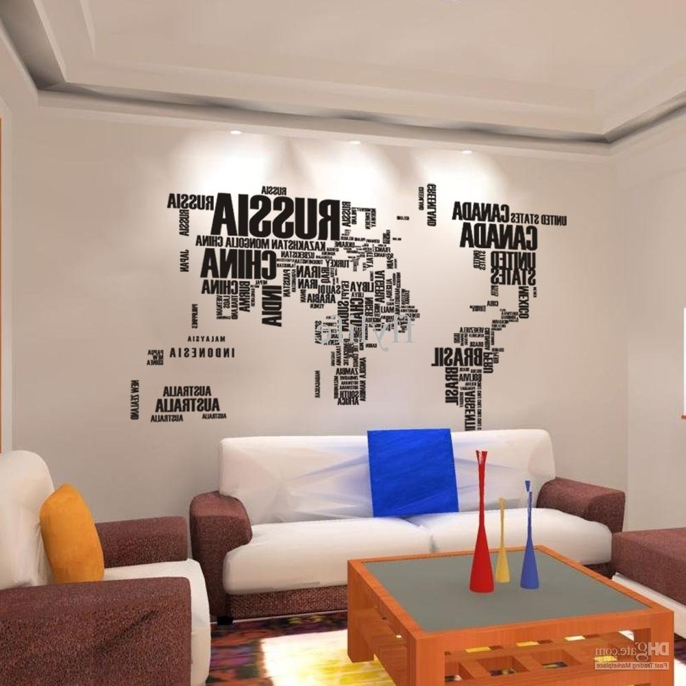 Wall Art World Map Pertaining To Famous World Map Wall Stickers , Home Art Wall Decor Decals For Living Room (View 16 of 20)