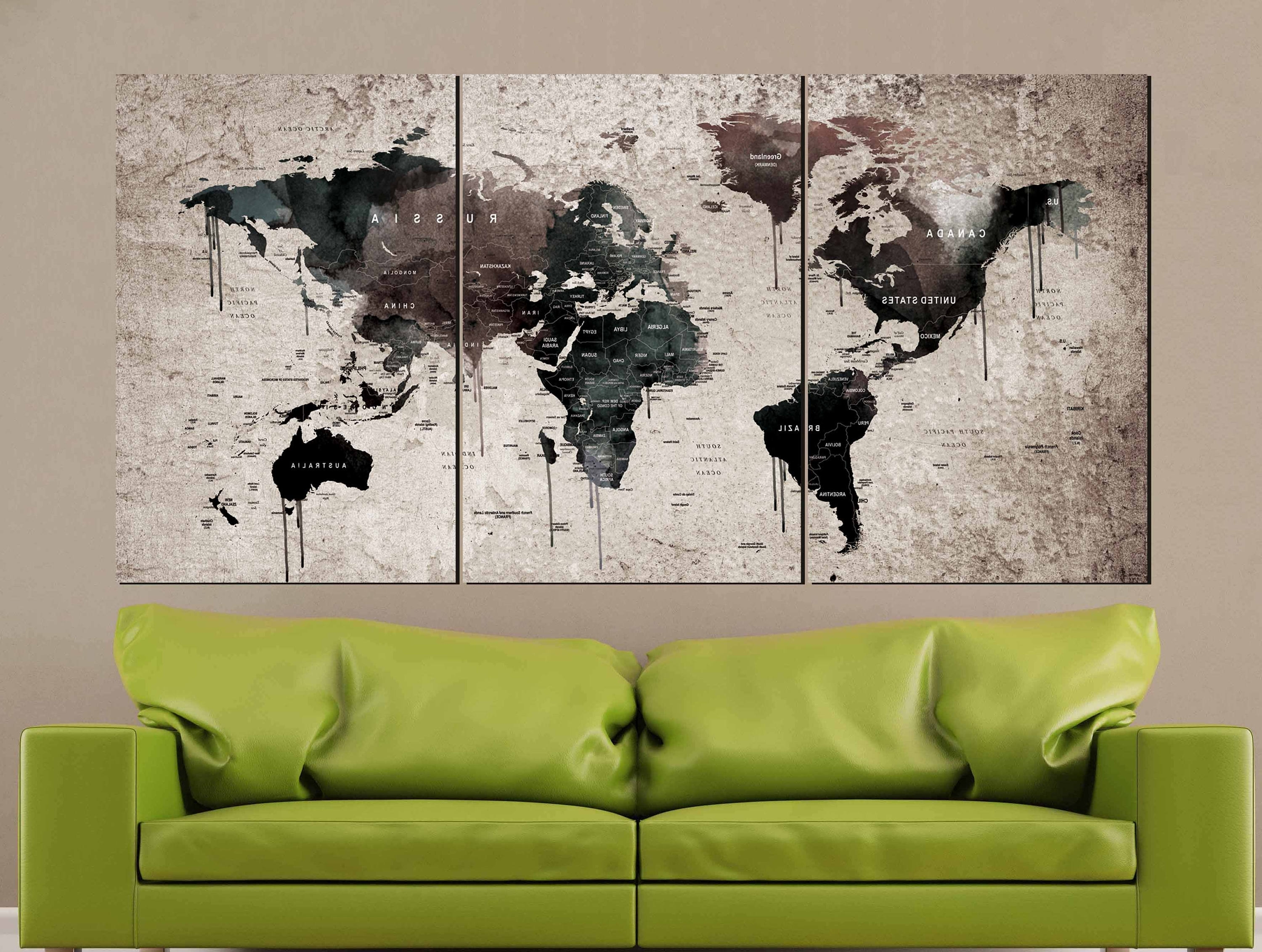 Wall Art World Map Regarding 2018 World Map Vintage,world Map Wall Art,vintage Map Canvas Print,world (View 17 of 20)