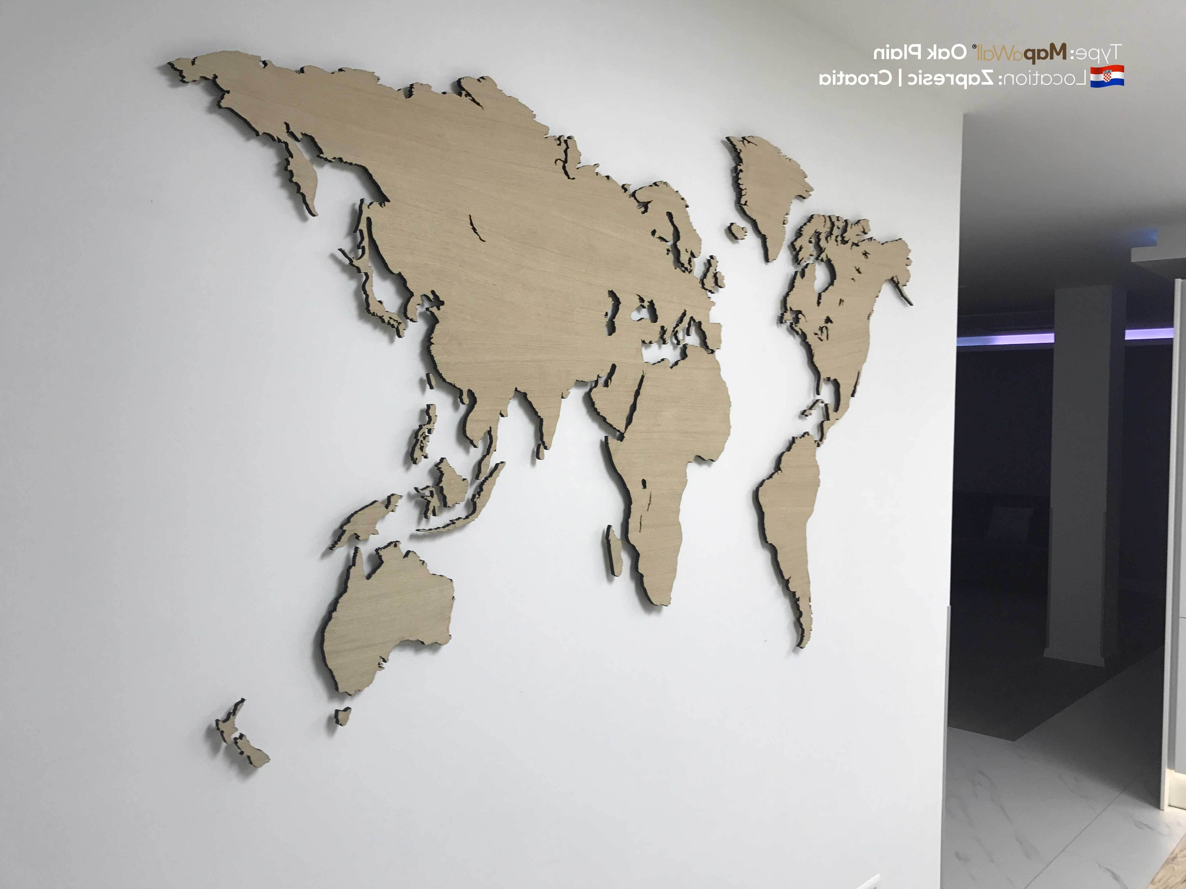 Wall Art World Map Within Most Up To Date Incredible Colors Wooden World Map Art As Well Wall Canada Image For (View 18 of 20)