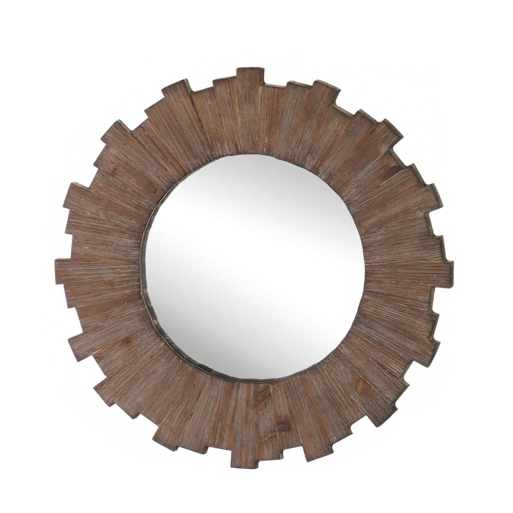 Wall Mirrors Decorative, Mdf Wood Framed Round Mirror Wall Art Decor Inside Fashionable Round Wall Art (View 17 of 20)