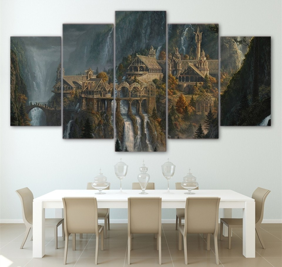 Wall Printed 5 Piece Wall Art Lord Of The Rings Canvas Post Prints With Regard To Recent Lord Of The Rings Wall Art (View 17 of 20)