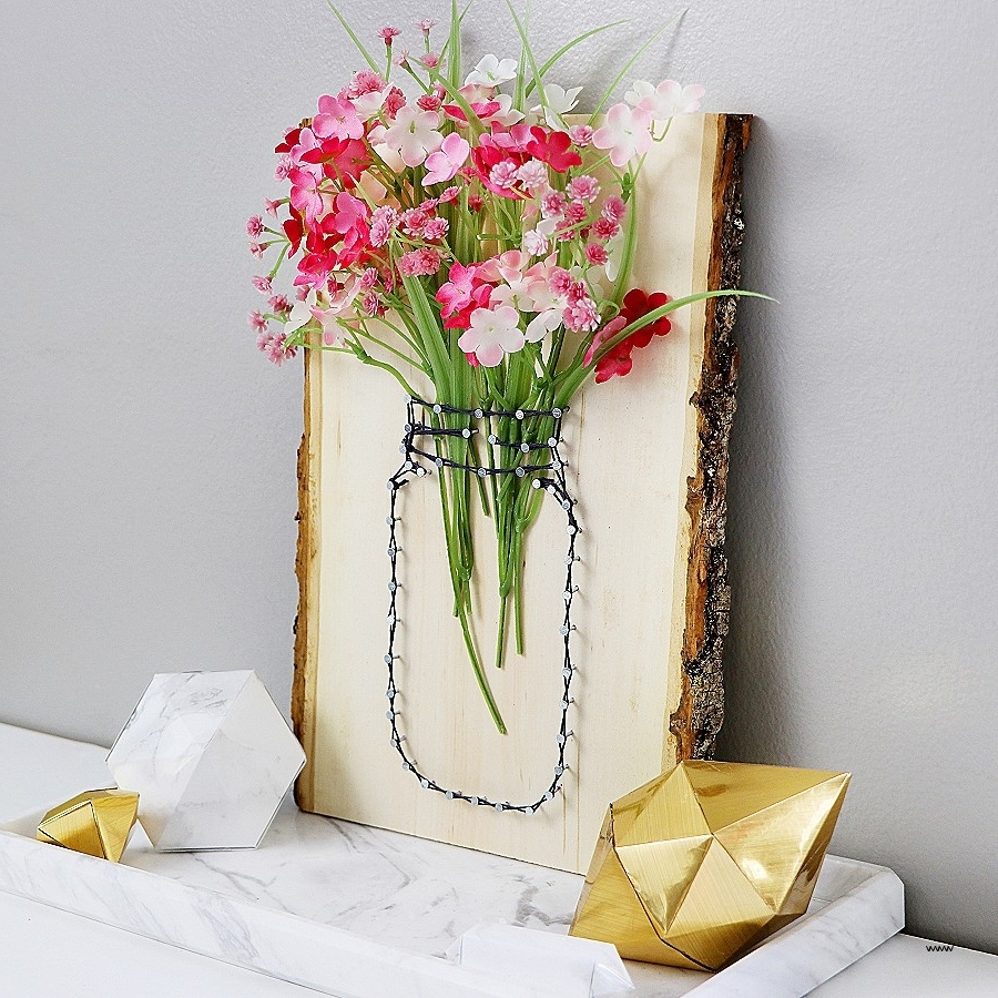 Wall Sconces : Wall Sconce Vase Lovely Diy String Art Mason Jar Inside Recent Mason Jar Wall Art (View 18 of 20)