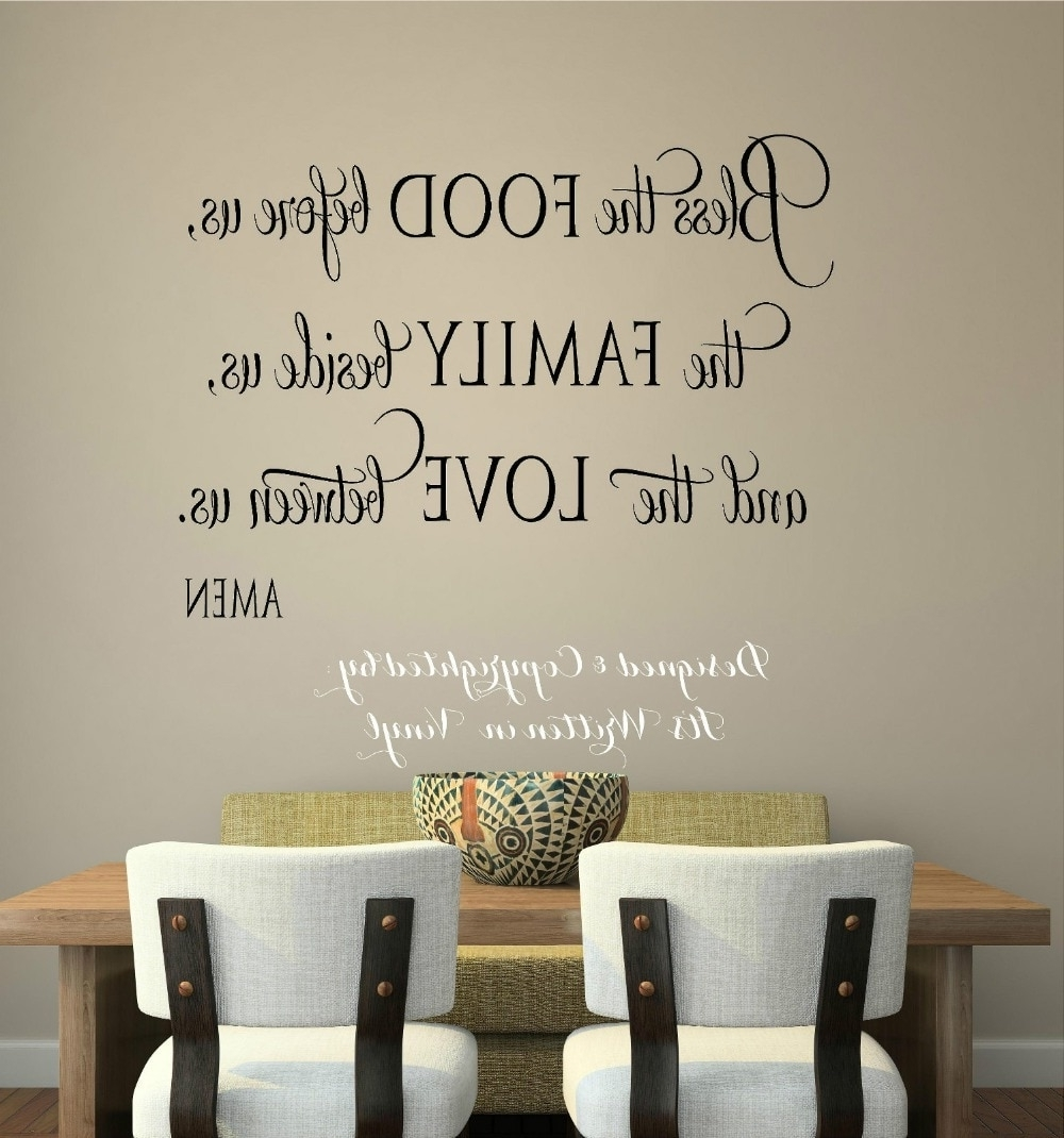 Wall Sticker Bless The Food Vinyl Lettering Wall Decal Words Home For Most Recent Word Art For Walls (Gallery 17 of 20)