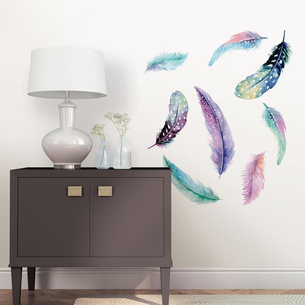 Wallpops Multi Color Celestial Feathers Wall Art Kit Dwpk2462 – The Pertaining To Well Liked Feather Wall Art (View 19 of 20)