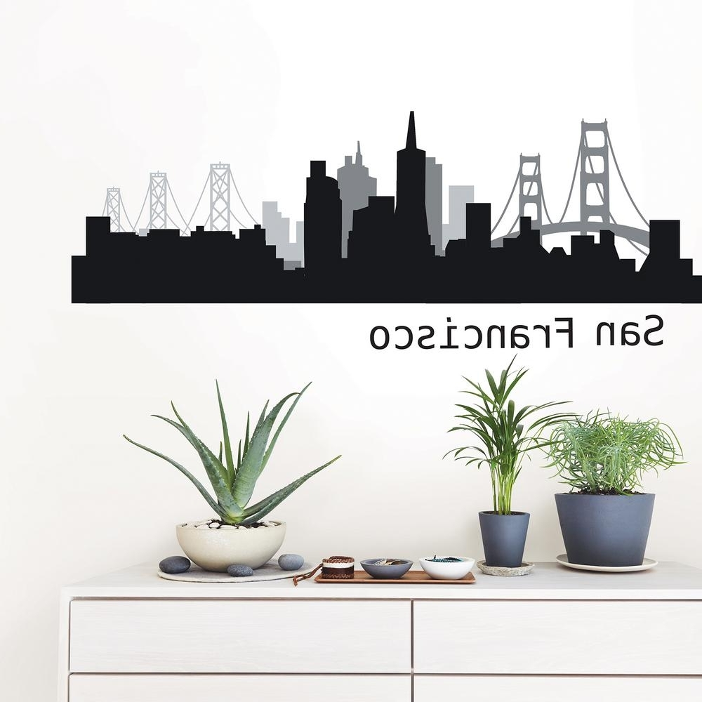 Wallpops San Francisco Black Cityscape Wall Art Kit Dwpk2570 – The Pertaining To Current San Francisco Wall Art (Gallery 5 of 20)