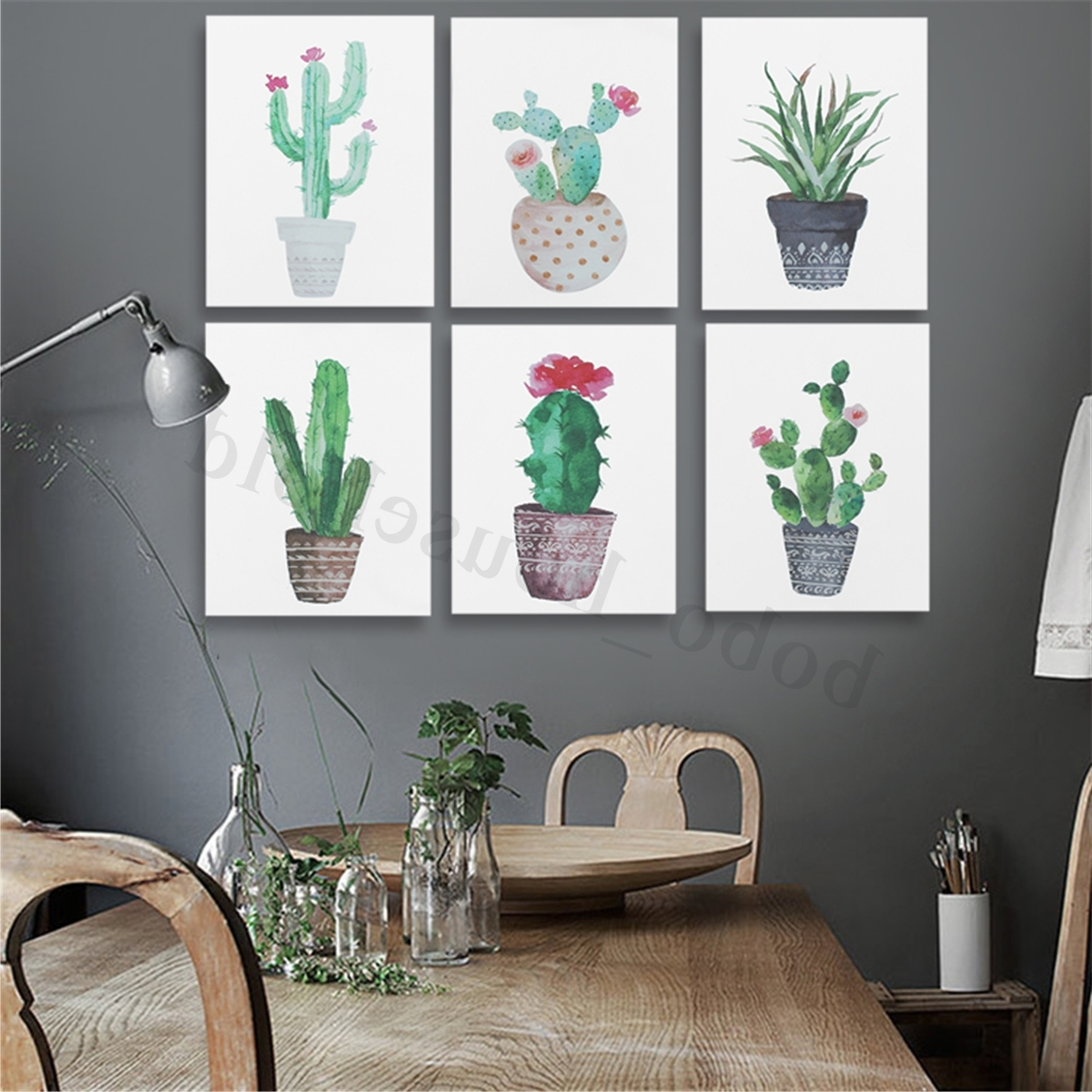 Watercolor Canvas Cactus Painting Print Picture Modern Home Wall Art With Regard To 2017 Cactus Wall Art (View 17 of 20)