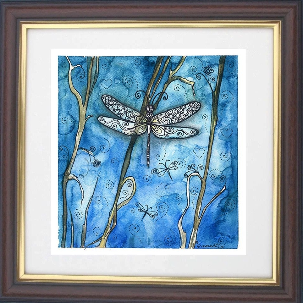 Watercolor Dragonfly Painting, Dragonfly Drawing Art Print, Boho For Favorite Dragonfly Painting Wall Art (View 15 of 20)