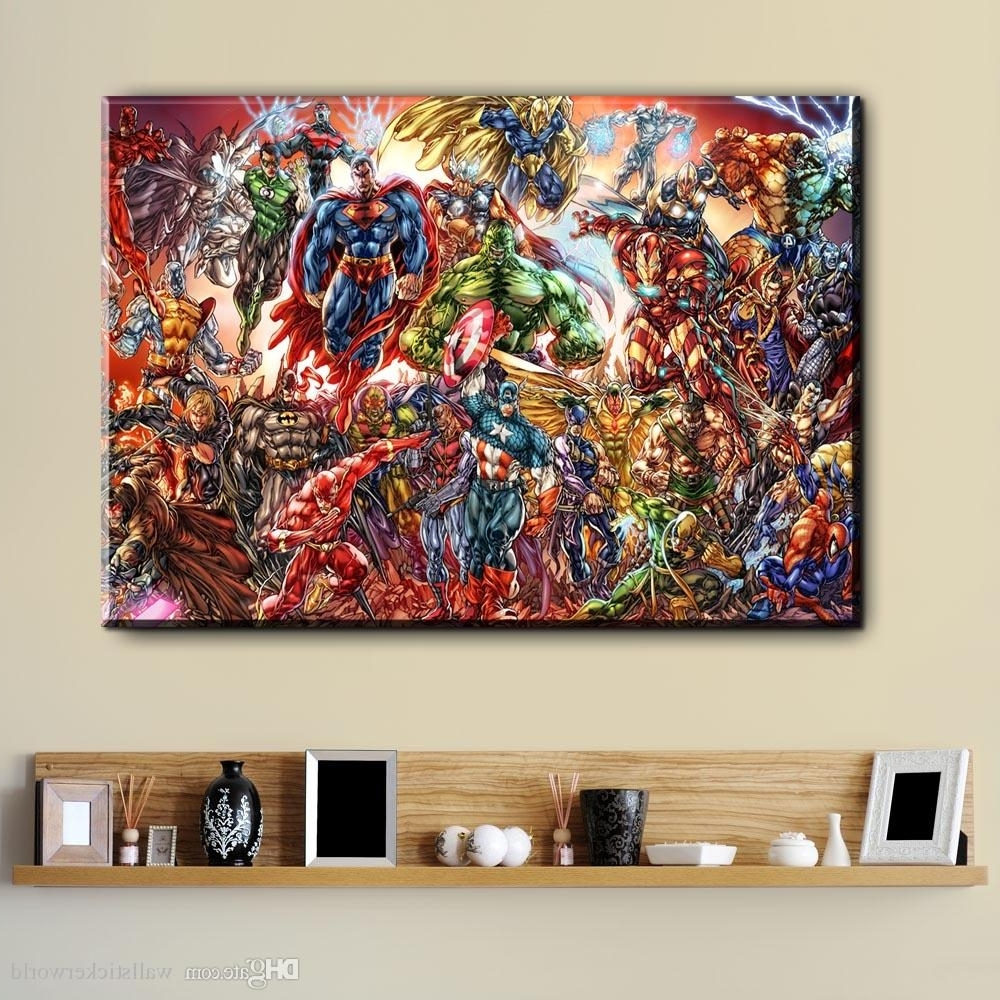 Watercolor Superhero Avenger Movie Canvas Art Oil Painting Modern In Best And Newest Wall Art Paintings (View 18 of 20)