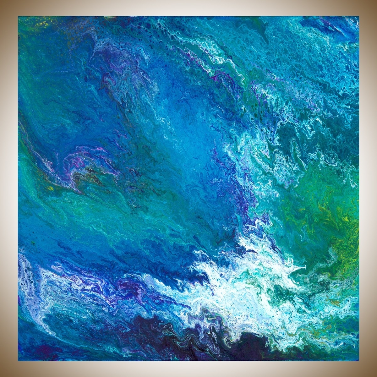 "Waterfallqiqigallery 30"" X 30"" Turquoise Blue Green Purple Intended For Well Liked Turquoise Wall Art (View 20 of 20)"