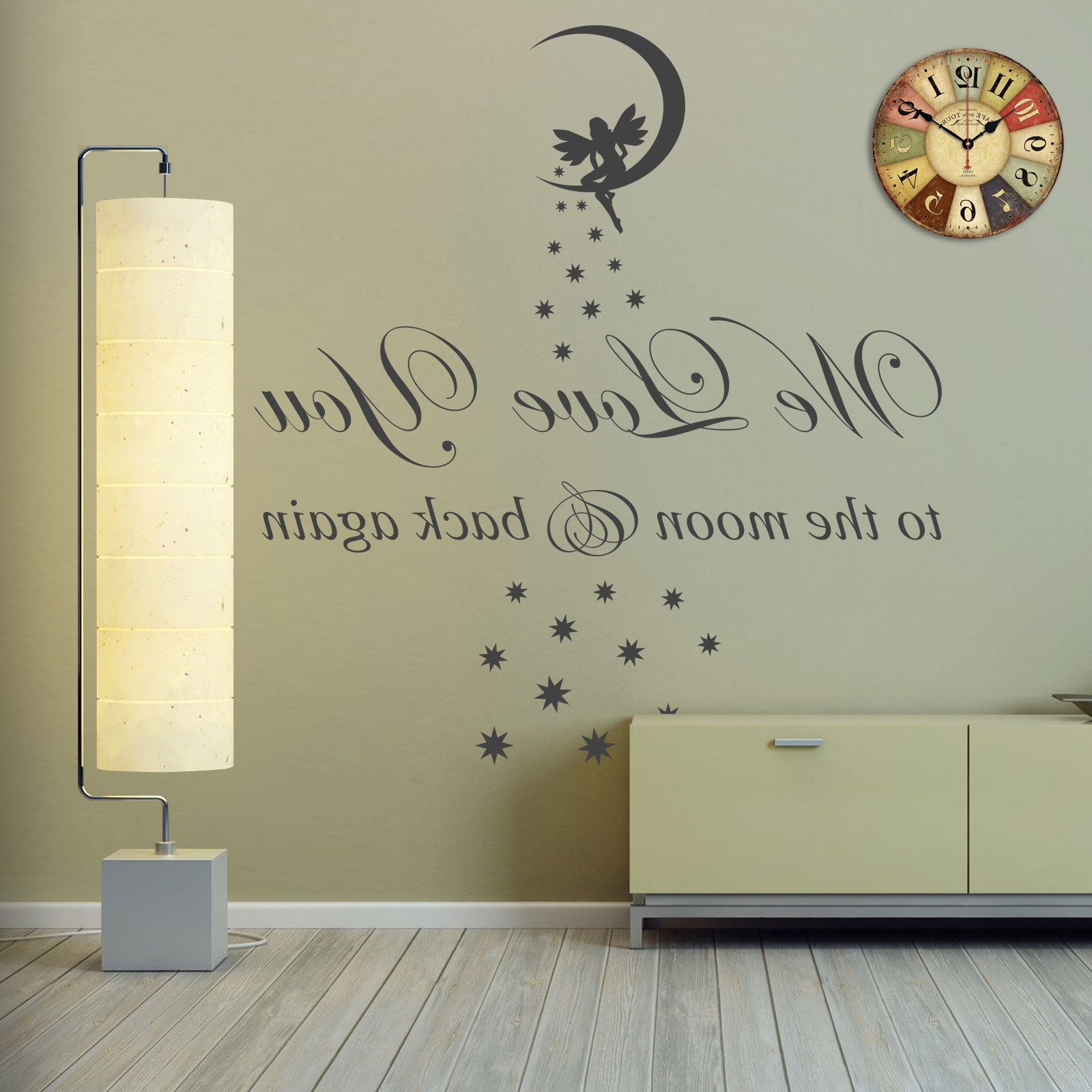 We Love You To The Moon & Back Vinyl Wall Art Sticker Childs Room For Fashionable I Love You To The Moon And Back Wall Art (View 19 of 20)