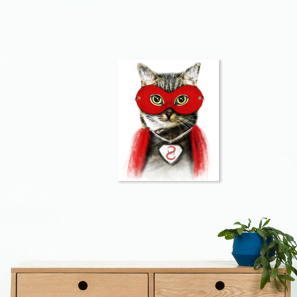 Well Design Canvas Painting Cat Wall Art Picture Of Cool Cat Wearing Within Latest Cat Canvas Wall Art (View 18 of 20)