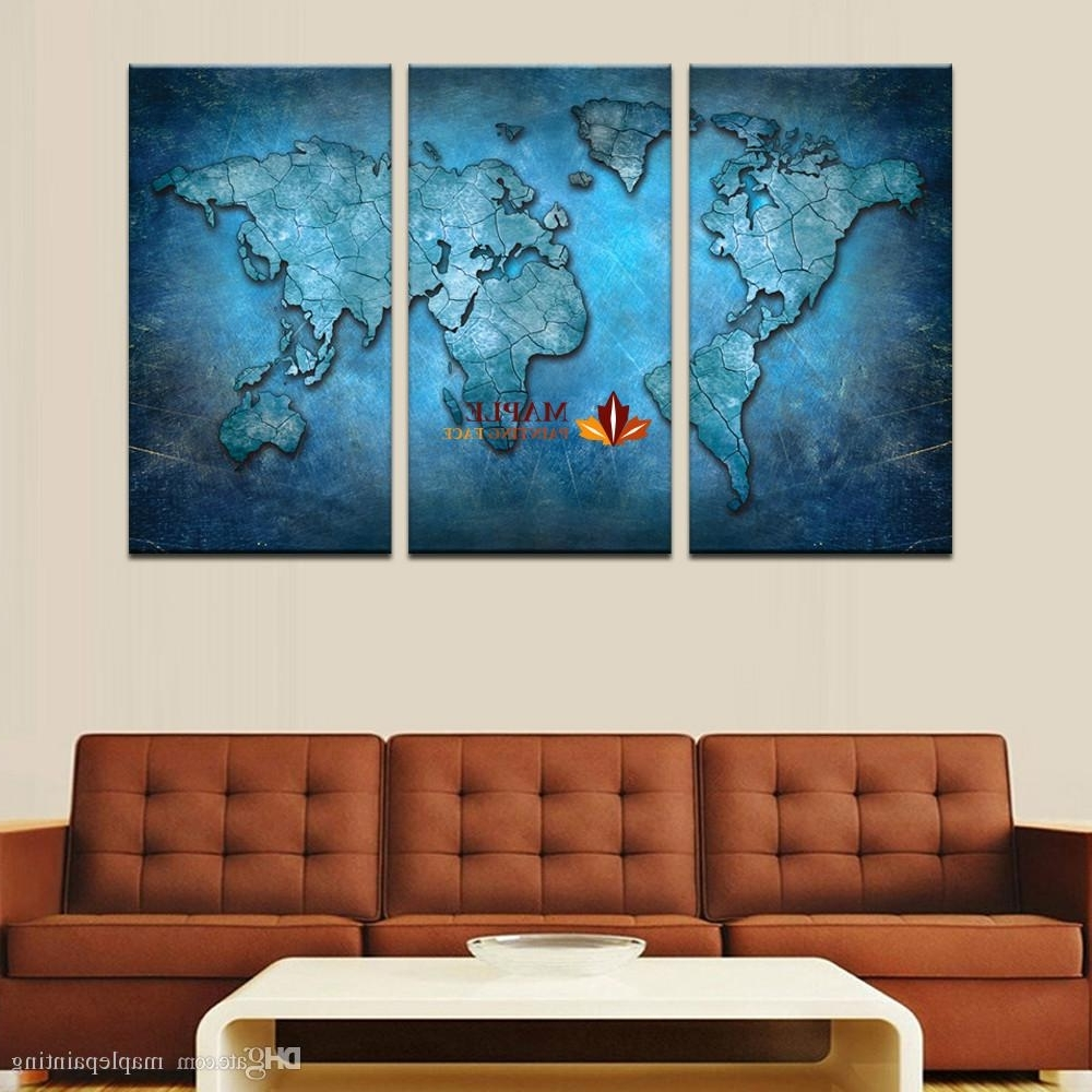 Well Known 2018 3 Panels Large Modern Abstract Blue Map Hd Picture Canvas Print In Large Framed Canvas Wall Art (Gallery 13 of 20)