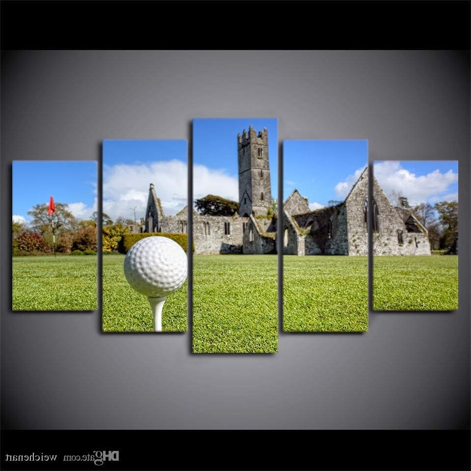 Well Known 2018 Hd Printed Canvas Art Golf Course Painting House On Hills Wall With Golf Canvas Wall Art (View 6 of 20)