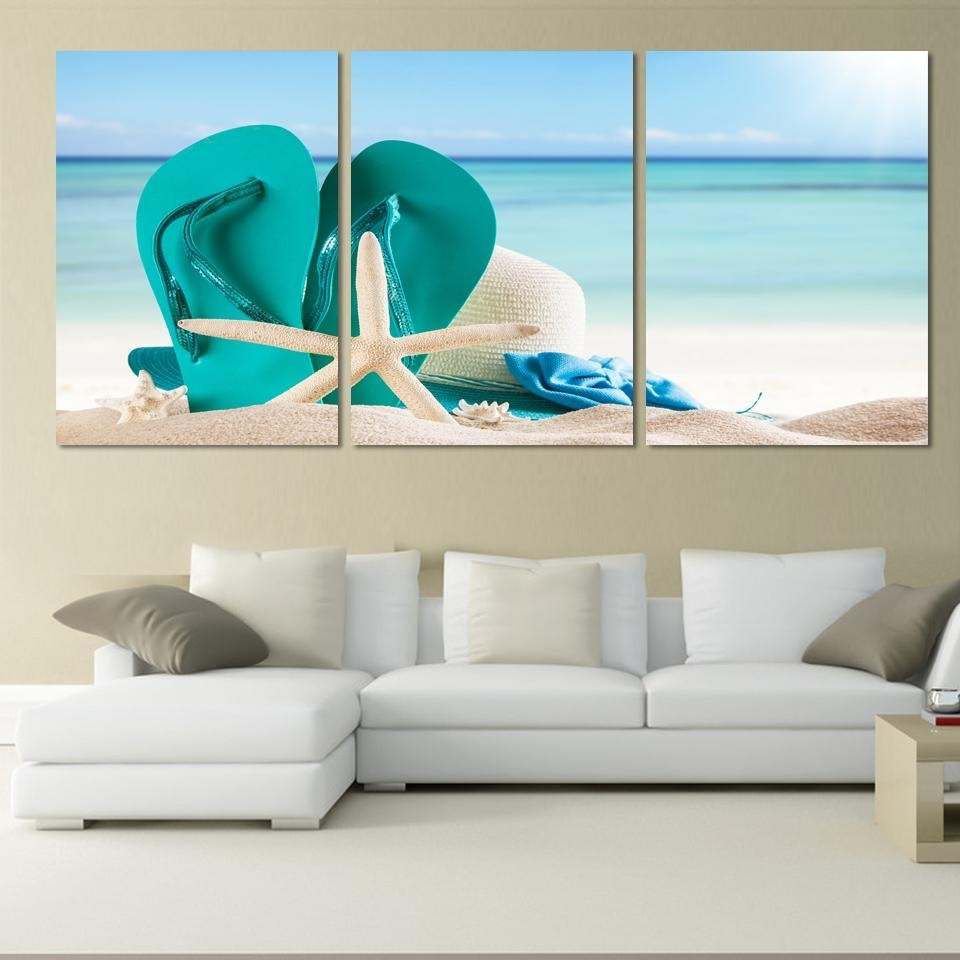 Well Known 3 Panel Large Beach Canvas Seascapes Shoses And Star Paintings Wall Within Large Coastal Wall Art (View 11 of 20)