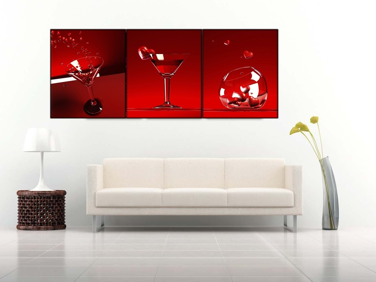 Well Known 3 Piece Canvas Wall Art In 3 Piece Red Wine Cups Wall Art On Canvas With Stretched Frame Ready (View 19 of 20)