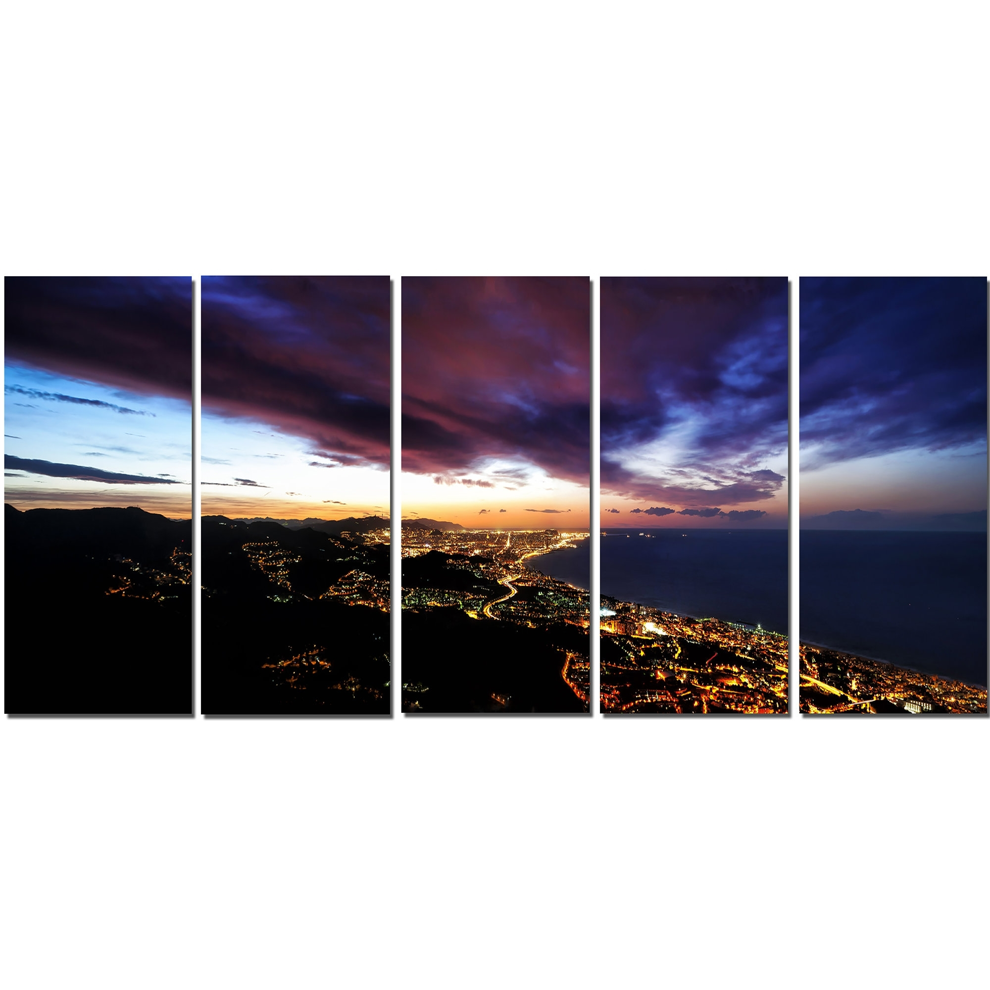 Well Known 5 Piece Wall Art Regarding Designart Barcelona Skyline Panorama 5 Piece Wall Art On Wrapped (View 19 of 20)