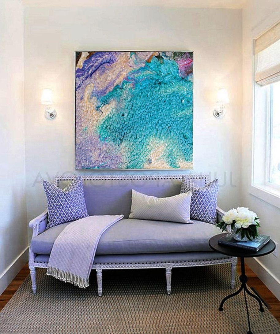 Well Known Abstract Seascape, Beach Wall Decor, Turquoise Abstract Painting Within Large Coastal Wall Art (View 16 of 20)