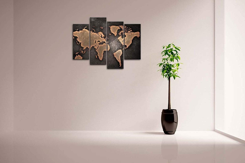 Well Known Amazon: Firstwallart General World Map Black Background Wall Art Throughout Modern Wall Art (View 15 of 15)