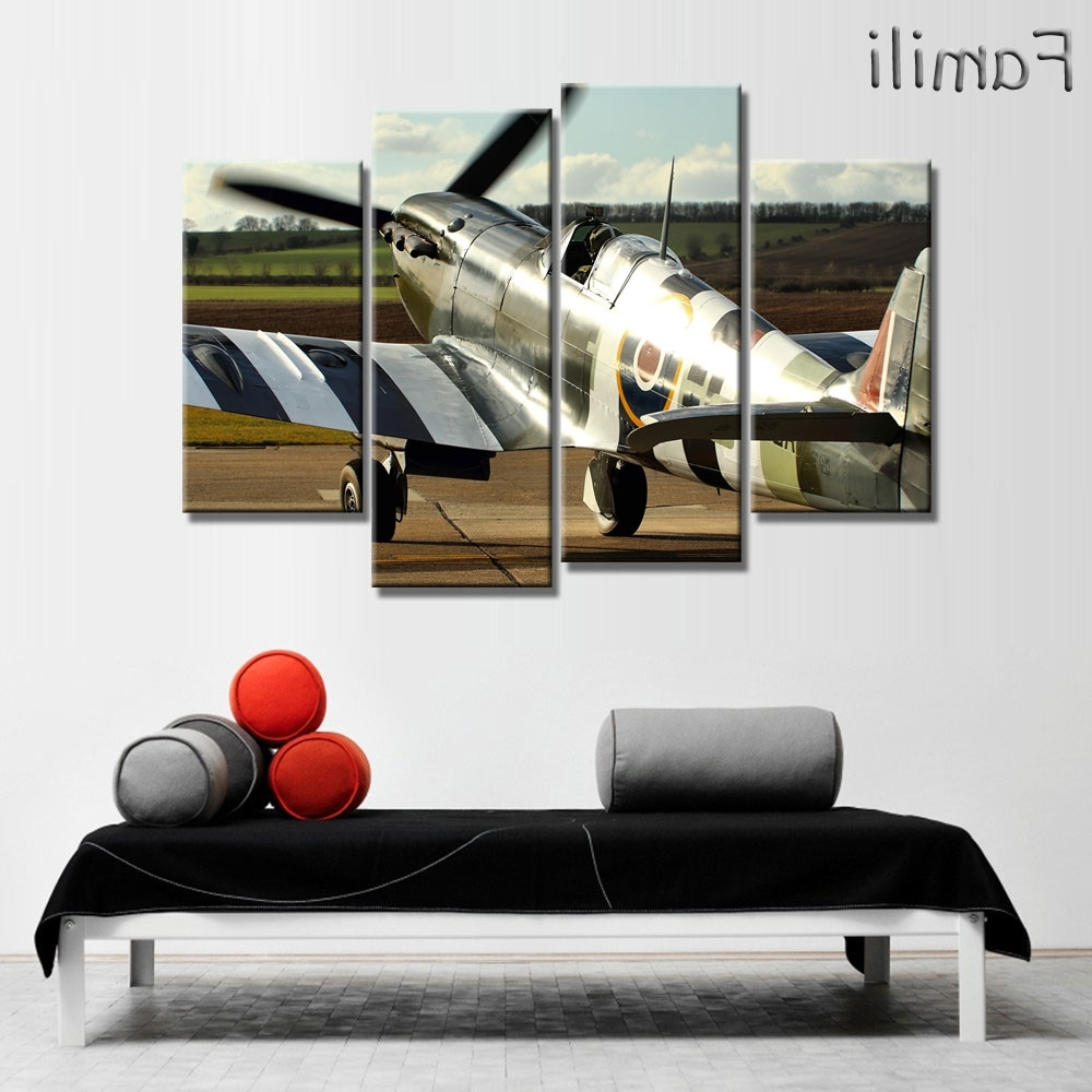 Well Known Aviation Wall Art Intended For 4 Pieces Poster Airport Fighter Painting Canvas Wall Art Picture (View 16 of 20)